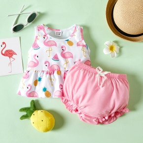 2pcs Baby Girl Sleeveless  Watermelon Animal Print Polyester Spring More Festivals Sets Baby's Sets