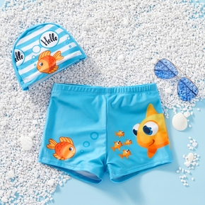 Kids Boy Cartoon Fish Print Shorts with Striped Hat Swimsuit Set