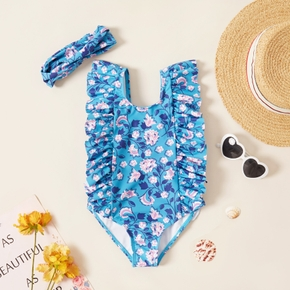 2-piece Toddler Girl Floral Print Ruffled Onepiece Swimsuit and Headband Set