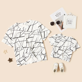 Geometric Graphic Print White Short Sleeve T-shirts for Mom and Me