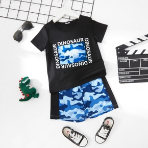 2-piece Toddler Girl Dinosaur Letter Print Tee and Camouflage Print Shorts Set
