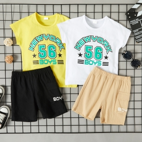 2-piece Toddler Boy Letter Tee and Shorts Casual Set