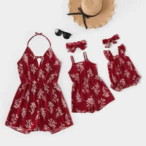 Floral Print Sleeveless Matching Red Sling Shorts Rompers