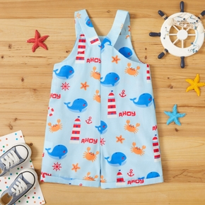 Toddler Boy / Girl Whale Ocean Animal Letter Print Rompers