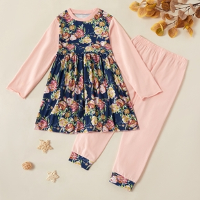 Kids Girl Floral Longsleeves Dress and Pants Set
