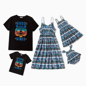 Mosaic Family Matching Sets(Floral Tank Dresses - Tiger Pattern Print Tops - Rompers )