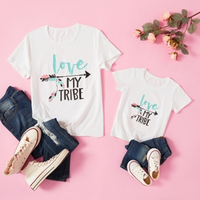 Letter Print White Short Sleeve T-shirts for Mommy and Me