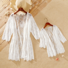 Solid White Floral Lace Print Cover Up for Mommy and Me