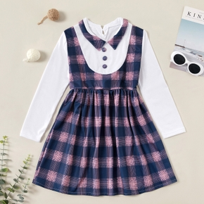 Fashionable Plaid Splice Lapel Collar Long-sleeve Dress