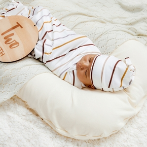 2 Pcs Cotton Stripe Cute Baby Blanket and Hat Bedding Sleeping Bag Infant Gift Baby Swaddle Blanket Spring Summer