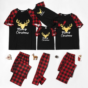 Family Matching Golden Deer Print Plaid Short-sleeves Christmas Pajamas Sets (Flame Resistant)