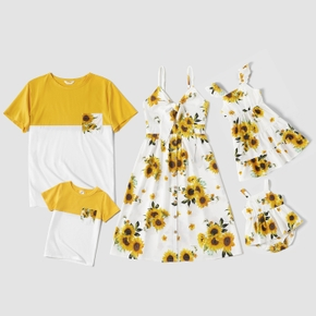 Mosaic Sunflower Print Family Matching White and Color Block Sets