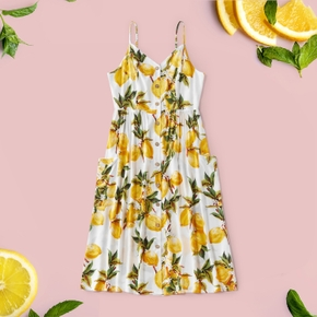 Casual Fruit Print Cami H Midi Dress