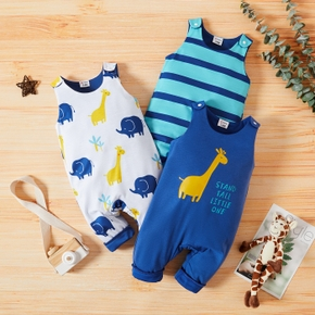 1pc Baby Boy Sleeveless Stripe Giraffe Elephant Print Jumpsuit