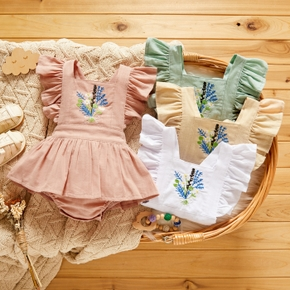 100% Cotton Floral Embroidery Flutter-sleeve Baby Romper