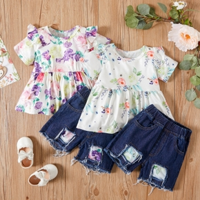 2-piece Baby / Toddler Floral Top and Denim Shorts Set