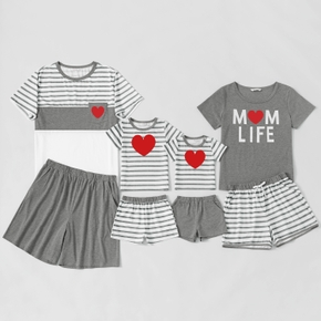 Family Heart Pattern Stripe Matching Pajamas Set(Flame Resistant)