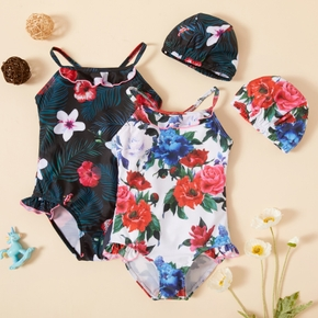 2-piece Toddler Girl Floral Print Back Crisscross Strap Onesies Swimsuit and Swimming Cap Set