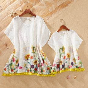 Casual Sunflower Print Cover Up for Mommy and Me