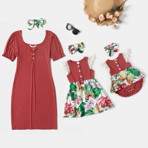 Floral Splice Short-sleeve Matching Red Midi Dresses
