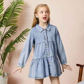 Beautiful Kid Girl Denim Shirt Dress