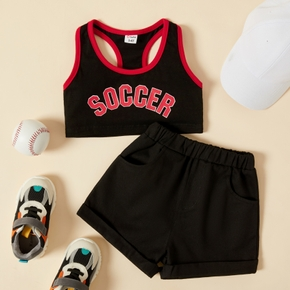 2-piece Toddler Girl Sporty Letter Print Camisole and Shorts Set
