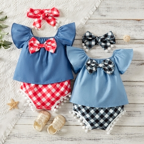 3pcs Baby Girl Flutter-sleeve Plaid Print Bowknot Baby's Sets