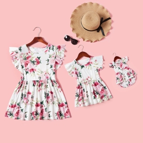 Floral Print Ruffle Sleeve Tops for Mommy and Me