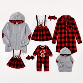 Mosaic Family Matching Christmas Cotton Sets(Deer Rompers - Plaid Dresses - Hoodies Zipper Jackets)