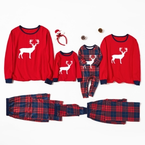 Christmas Reindeer Top and Plaid Pants Family Matching Pajamas Sets