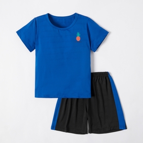 Pineapple Print Top and Shorts Athleisure Set for Kids
