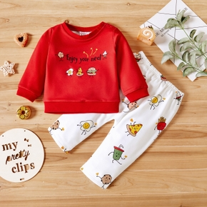 2-piece Baby Girl/Boy Letter Food Print Pullover and Elasticized Pants Set