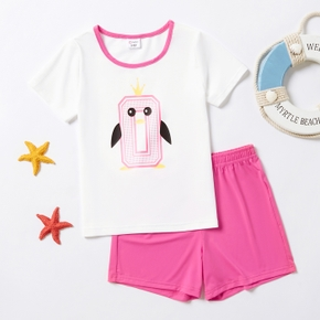 Number Penguin Print Color Block Short-sleeve Tee and Shorts Athletic Set for Toddlers / Kids