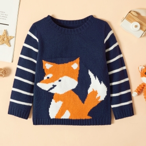 Toddler Girl Fox Embroidery Striped Round-collar Sweater Pullover