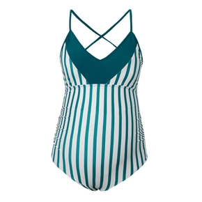 1-piece V-neck Striped Maternity Swimsuit