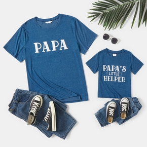 Letter Print Short Sleeve T-shirts for Dad and Me