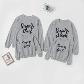 Casual Letter Print Grey Family Matching Sweatshirts