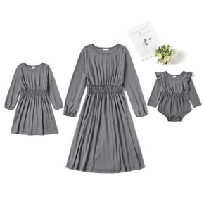 Solid Long-sleeve Dresses for Mommy and Me