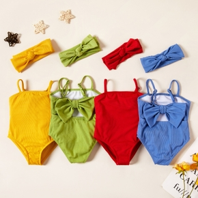 Baby Girl  Bowknot Headband Solid Multicolor Swimsuit