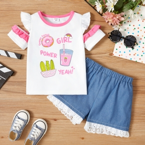 2-piece Toddler Girl Letter Juice Cactus Donuts Print Flutter-sleeve Top and Lace Decor Denim Shorts Set