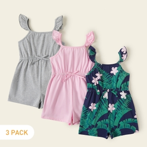 3-piece Toddler Girl Solid Floral Print Strappy Jumpsuit
