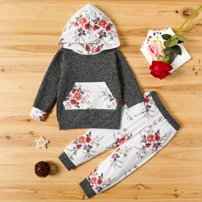 2-piece Baby / Toddler Floral Print Hooded Long-sleeve Pullover and Pants Set