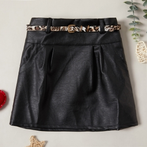 Trendy Solid PU Skirt with Leopard Print Belt