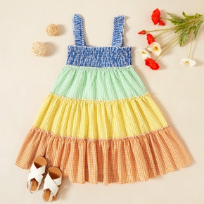 Toddler Girl Rainbow Plaid Splice Dress