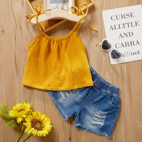 2-piece Baby / Toddler Yellow Camisole and Denim Shorts Set