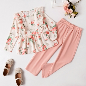 2-piece Kid Girl Floral Print Girl Flounced Long-sleeve Top and Elasticized Solid Pink Pants