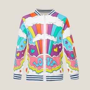 Kids Unisex Rainbow Striped Zipper Coat Jacket