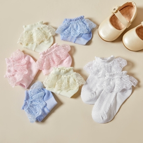 Baby / Toddler / Kid Solid Lace Flounced Breathable Socks