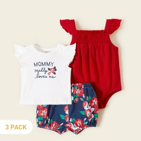 3-piece Baby Floral Ruffled Sets