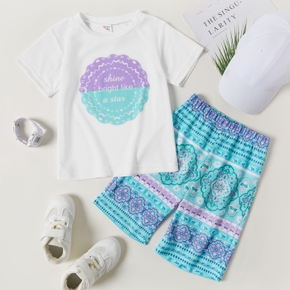 Boho Print Tee and Shorts Athleisure Set for Toddlers/Kids